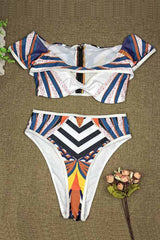 Dashikimall African Print High Waist Swimsuit