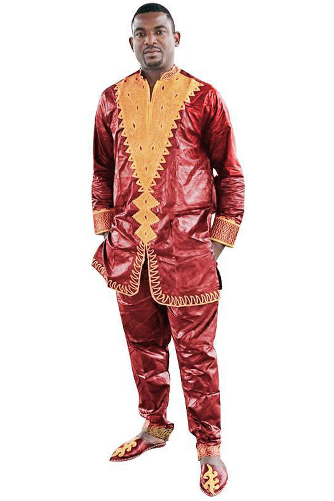Men's Sets - African Bazin Riche Embroidery Top With Pant