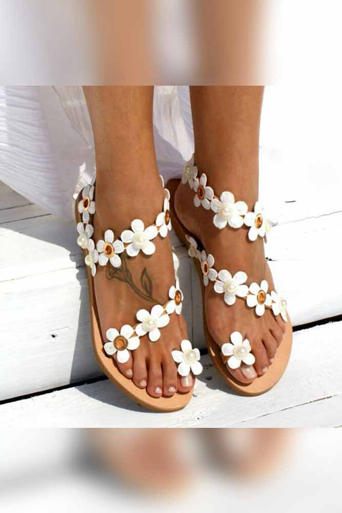 Dashikimall Bohemia Flower Sandals