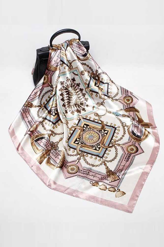 Metal Tassels Female Satin Silk Scarf