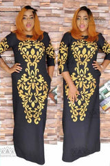 African Dashiki Elastic Long Dress