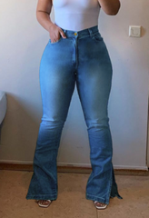 Plus size women's high-waist denim bootcut pants