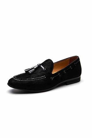 Black Suede Loafers Tassels Shoes