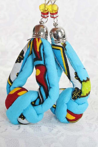 Dashikimall Ankara African Ethnic Cloth Knot Earrings