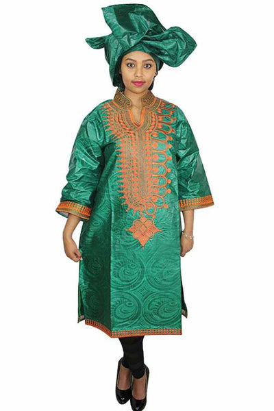 African Bazin Riche Embroidery Green Dress