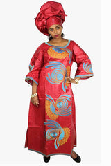 African Bazin Riche Embroidery Red Dress With Headwear