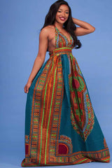 Dashikimall African Ethnic Totem Print Halter Dress