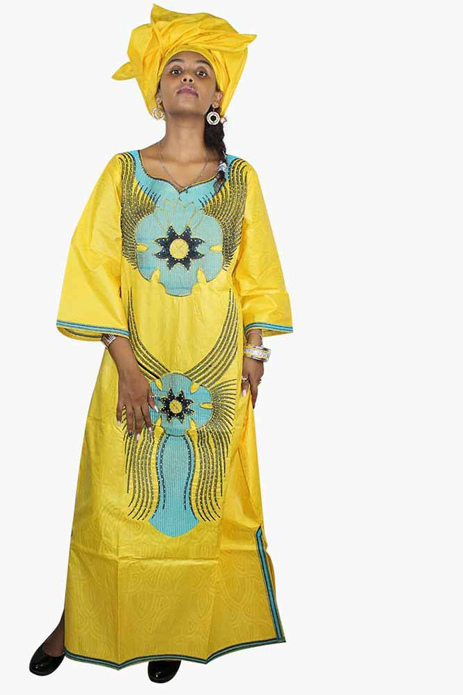 African Bazin Riche Embroidery Design Dress