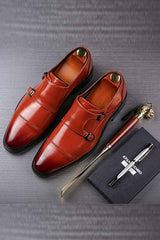 Leather Double Buckle Business Shoes