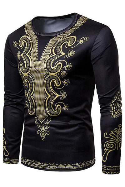 Dashikimall Gold Print Round Collar  Men's T-Shirt