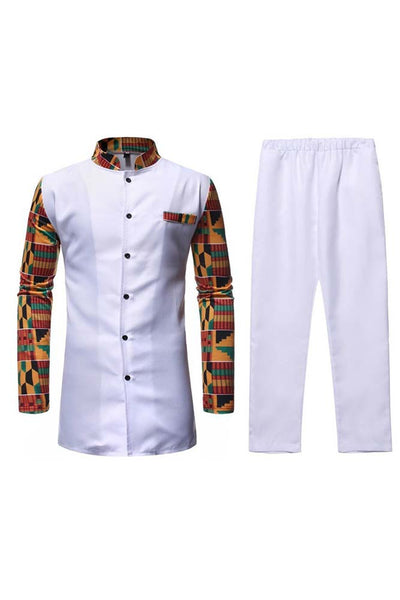Dashikimall African Dashiki Stand Collar Shirt Pants Set