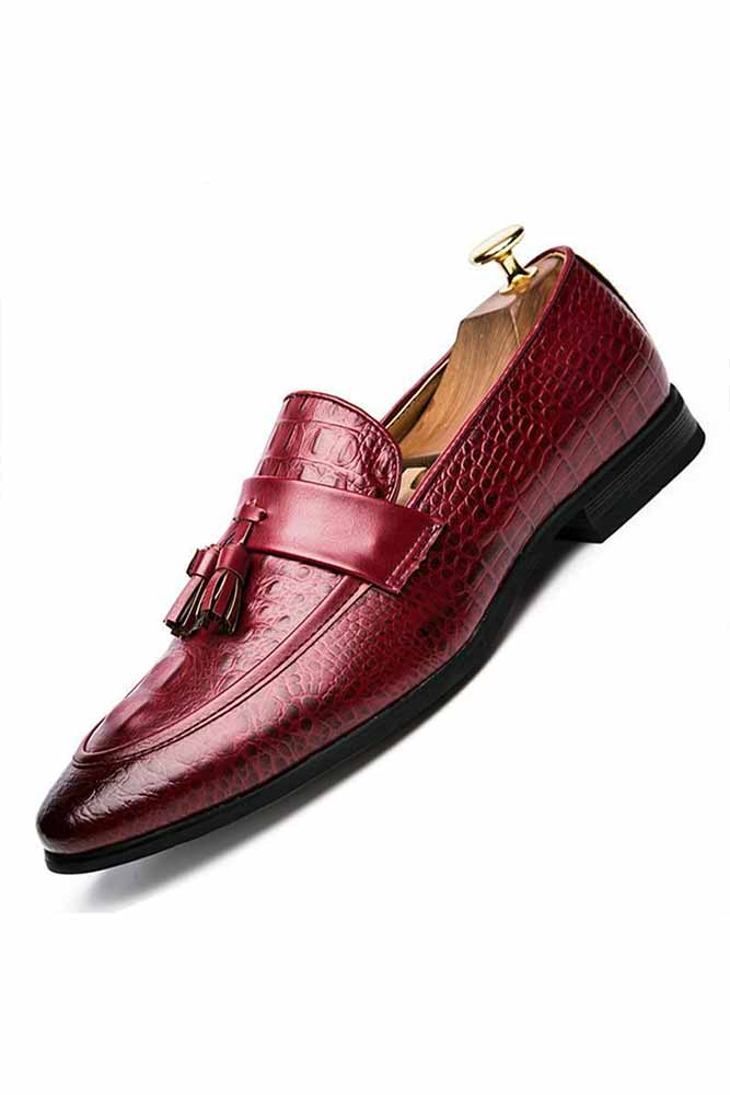 Men Casual Flats Loafers Red/Black Shoes