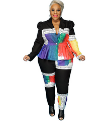 Plus size trendy women's printing and dyeing suit