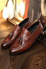Men's  Crocodile Leather Tassel Slip On Oxford Shoes