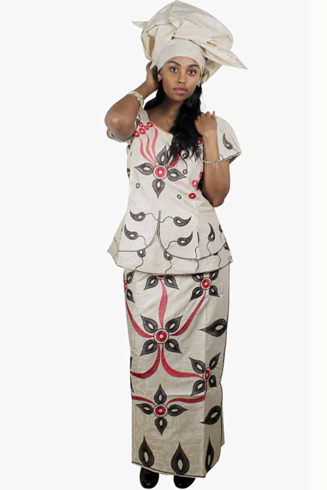 African Bazin Riche Embroidery Set With Headwear
