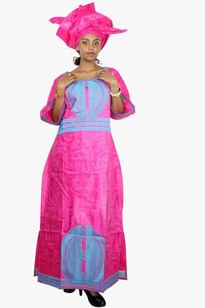 Dashikimall African Bazin Riche Embroidery Design Pink Dress