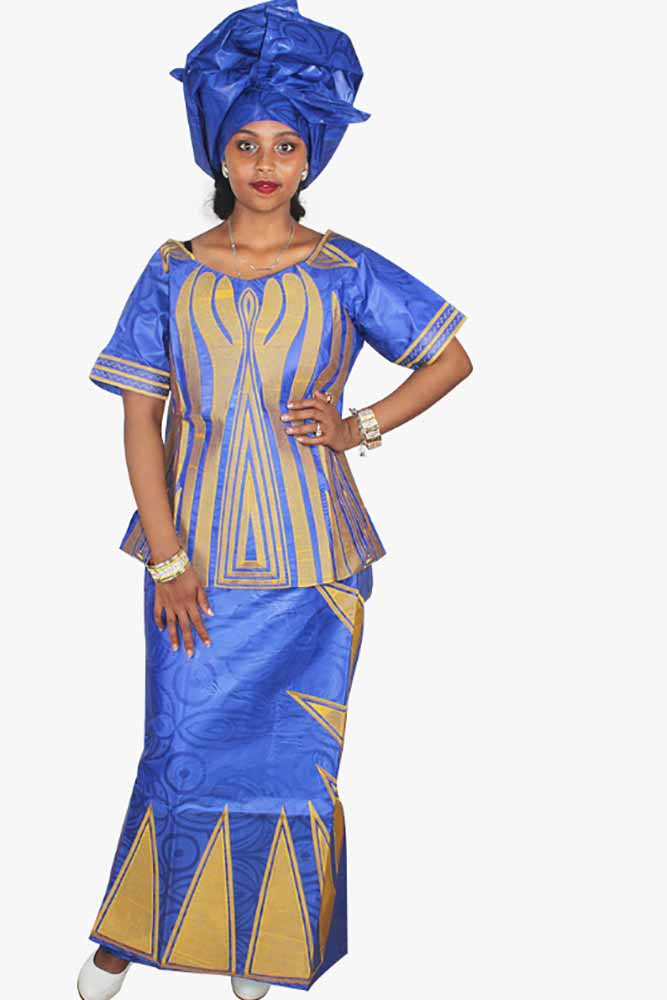 Dashikimall African Bazin Riche Embroidery Set With Headwear