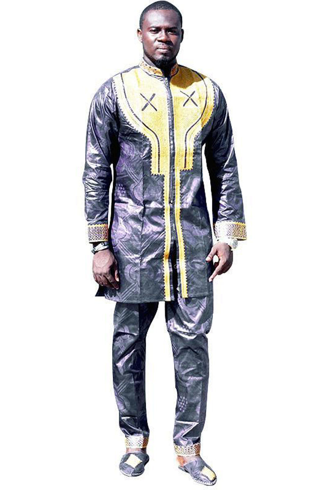 Dashikimall African Bazin Riche Embroidery Design Top With Pants Set