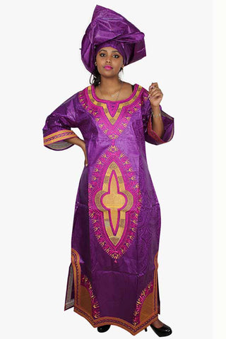 Dashikimall African Bazin Riche Embriodery Dress With Headtie