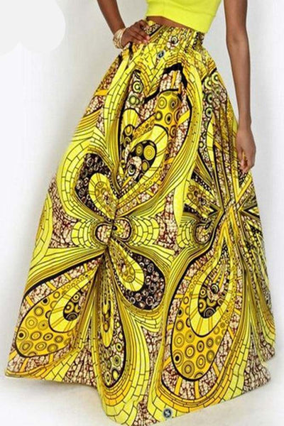 Dashikimall Ankara Women African Print Long Skirts