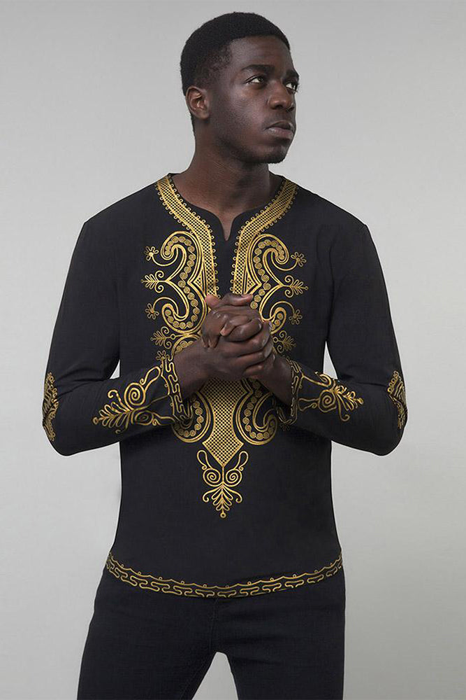 Dashikimall Gold Print Round Collar Slim Men's T-Shirt