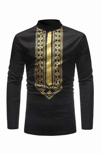 Dashikimall New African Men's Dashiki Style  T-shirt