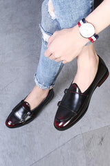 Dashikimall Men Plus Size Strap Leather Shoes