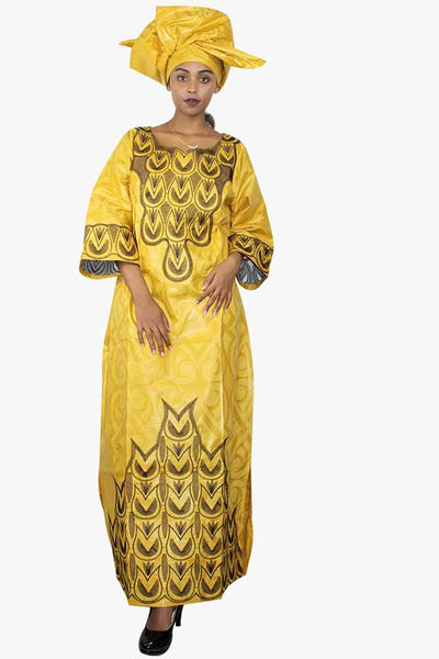African Bazin Riche Embroidery Yellow Dress