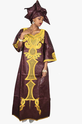 Dashikimall Bazin Riche Embroidery Dress With Headtie
