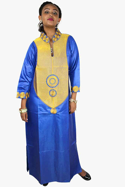 African Bazin Riche Embroidery Blue Dress
