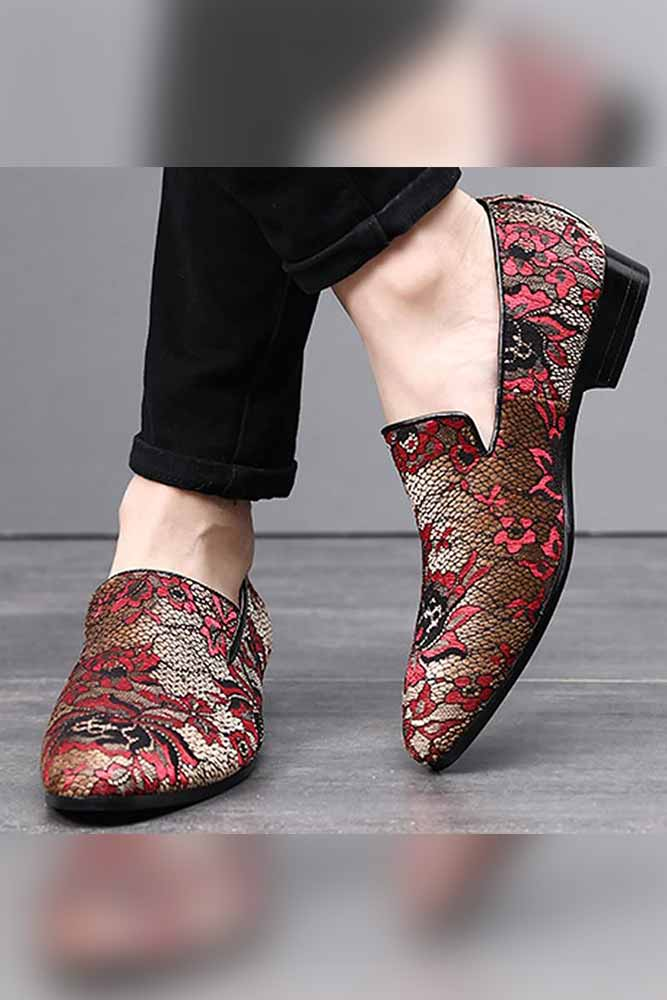 Embroidery  Mens Casual  Shoes