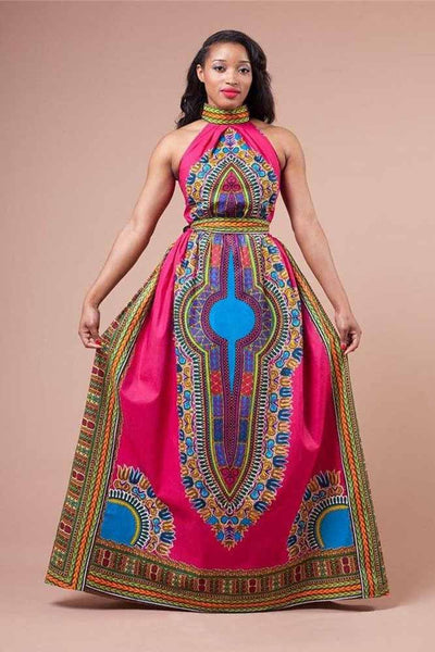 Dress—African Dashiki Women's  Totem Printing Neck Skirt