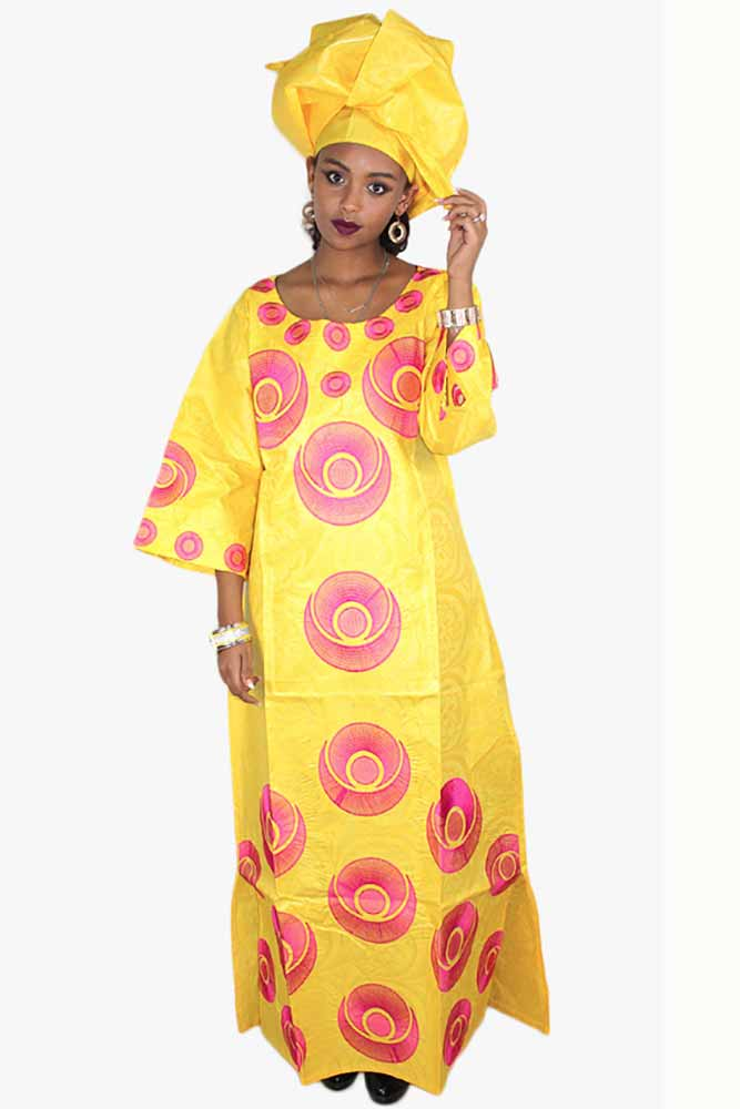 African Bazin Embroidery Dress With Scarf