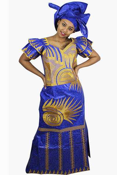 Dashikimall African Bazin Embroidery Fly Sleeve Dress With Headwear