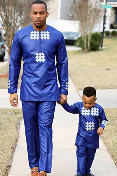 Dashikimall African Men Kid Dashiki Tops Pant Suit