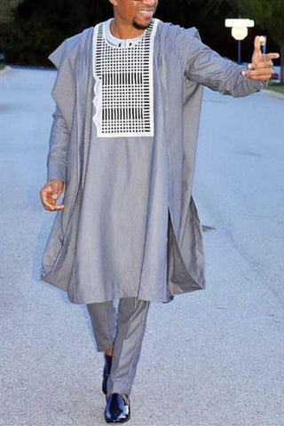 Dashikimall Musa African Agbada Men Clothing Set
