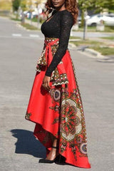 Dashikimall High Waist Irregularity Print Floor-Length Skirt