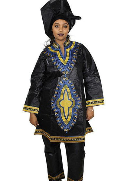Dashikimall African Bazin Embroidery Design Dresses Top With Pants Set
