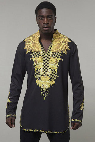 Dashikimall Print Black Golden Long Shirt