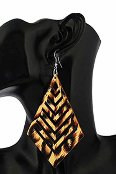 Dashikimall Women Design Chic Geometric Resin Wooden Earrings