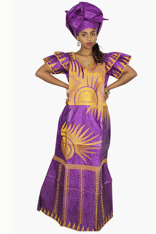 African Bazin Embroidery Fly Sleeve Dress With Headwear