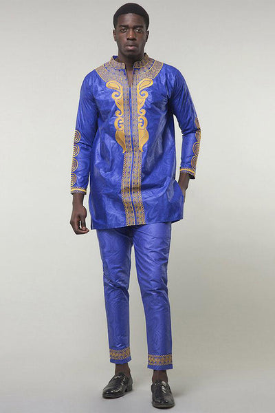 Men's Sets - African Bazin Riche Embroidery Long Sleeves Top With Pants