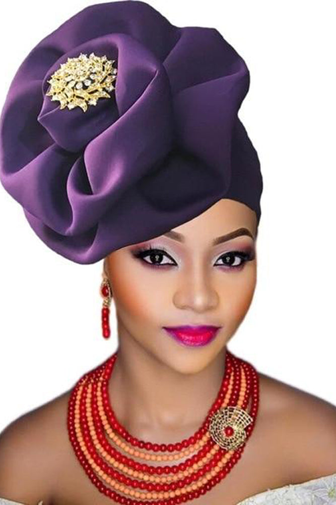 Women Accessory - Nigeria Turban Headband With Brooch Flower