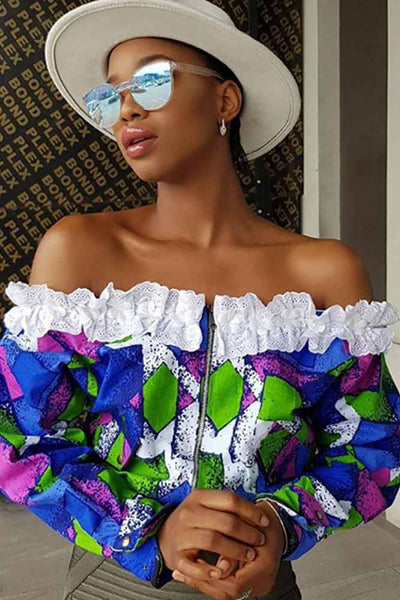 African Style Colorful Off The Shoulder Crop Top