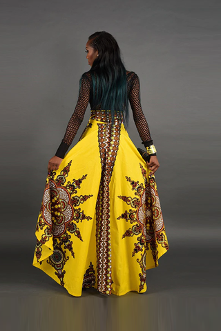 Skirts - Dashiki High Waist Irregularity Print Floor-Length Skirt
