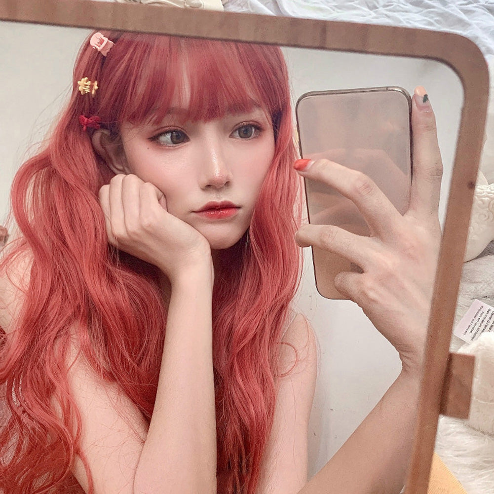 Orange Red Wig Female Long Curly Hair Big Wave Woolen Volume