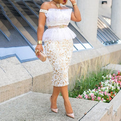Sexy Bodycon White Lace Off Shoulder Dress