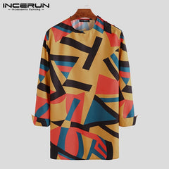 INCERUN Vintage Dashiki Shirt Men African Printed Long Sleeve L