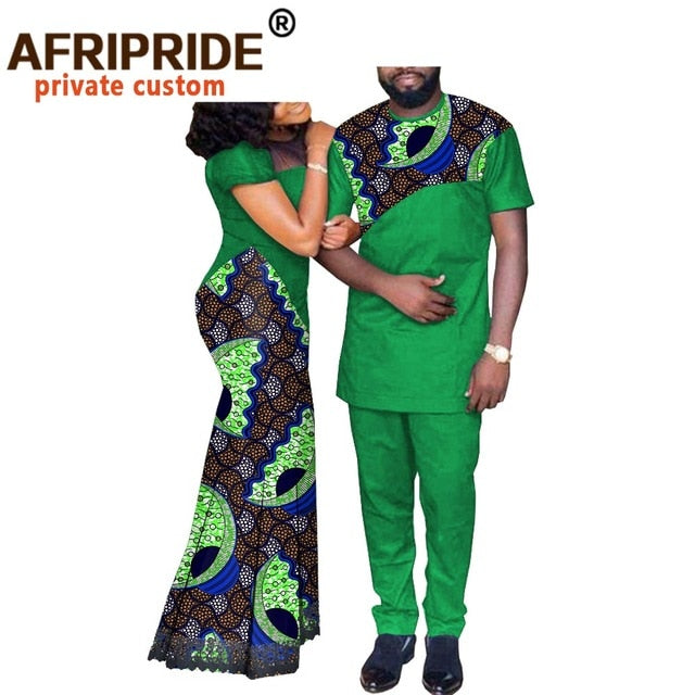 African Couple Clothes Women`s Long Maxi Dress and Men`s Tracksuit Dashiki Outfits