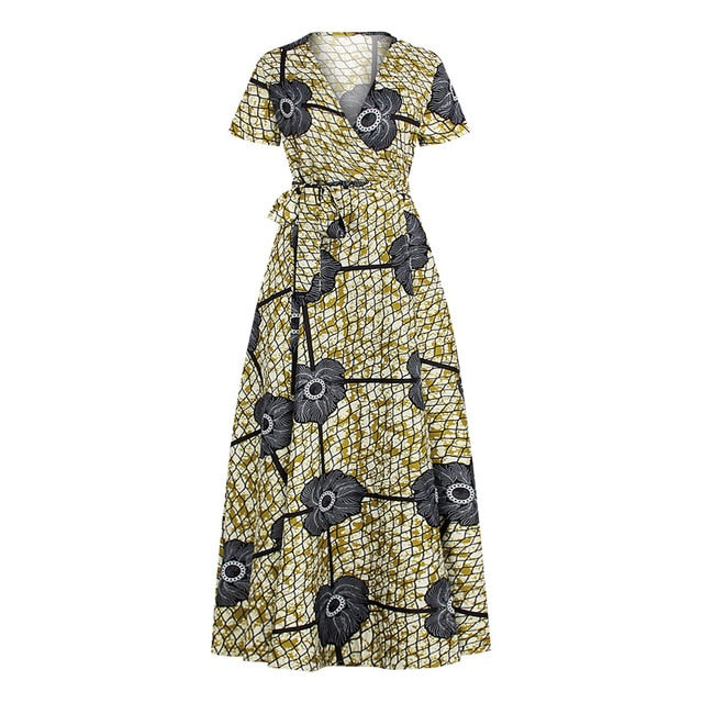 Big Swing Summer Boho Casual Dress for Woman Short Sleeve V-neck Split Sexy Ethnic Dashiki Ankara Dresses Outfits Femme